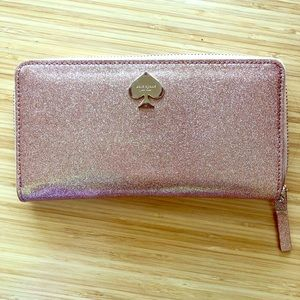 Kate Spade glitter pale pink zip wallet